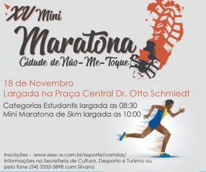 Inscrições abertas para a 15ª Mini Maratona Cidade de Não Me toque!